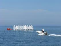 Water sport. Training at sailing boats. Stock Photos