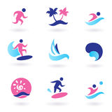 Water sport, vacation and exotic icons - pink. Collection of vacation and summer sports icons. Vector Illustration Stock Photography