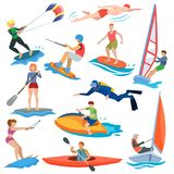 Water sport vector people in extreme activity or windsurfer and kitesurfer illustration set of sportsman characters vector illustration