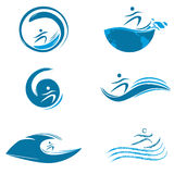 Water sports. Illustration of water sports on white background Royalty Free Stock Photos