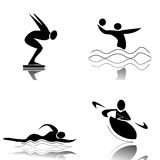 Water Sports. Profiles of sports water sports Stock Photos