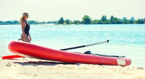 Water sports , active lifestyle.Young woman swimming on stand up paddle board. royalty free stock image