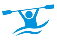 Water sports, blue vector icon, canoeing Stock Photos