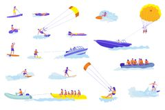 Water sports cartoon vector illustrations set vector illustration