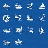 Water sports icon set Royalty Free Stock Image