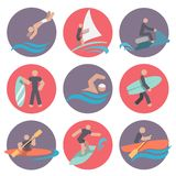 Water sports icons set flat Stock Photography