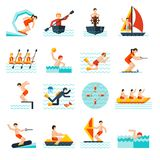 Water Sports Icons Set Stock Photography