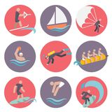 Water sports icons set flat. Water sports flat icons set with skiing sailboat wakeboarding isolated vector illustration Royalty Free Stock Image