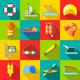 Water sports icons set in flat style Royalty Free Stock Photography