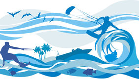 Water sports - kite surfing, water skiing, jet Stock Image