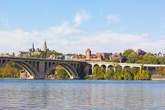 Water sports on Potomac River near Georgetown Park waterfront and key Bridge in Washington DC, USA. Stock Photos