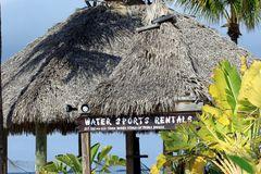 Water sports rentals gazebo on tropical beach Key Largo, Florida Stock Photo