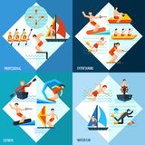 Water Sports Set. Water sports design concept set with extreme fun and professional entertaining flat icons isolated vector illustration Stock Photo