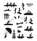 Water sports silhouette Royalty Free Stock Images