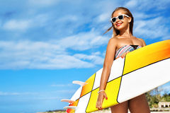 Water Sports. Surfing. Woman With Surfboard On Summer Holidays Vacations Royalty Free Stock Images