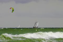 Water sports on a windy day at Warnemunde, Rostock Germany Stock Photos