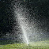 Water spray on green field Stock Images