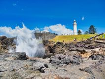 Water Spray From Kiama Blowhole, NSW South Coast, Australia royalty free stock photography