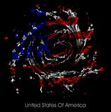 Water spray to form a U.S. flag on a black background. Royalty Free Stock Images