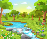 Water spring in the forest stock illustration