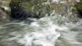 Water spring in high mountains - closeup with sound. HD 1080 static: water stream on sunny summer day; closeup; on site sound stock video