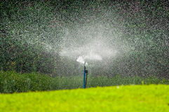 Water sprinkler in garden Stock Photos