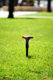 Water sprinkler on the grass Stock Image