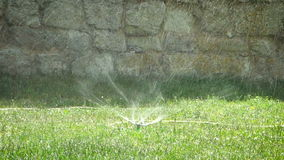 Water sprinkler on green grass in motion stock video footage
