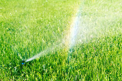 Water sprinkler and rainbow Stock Photography
