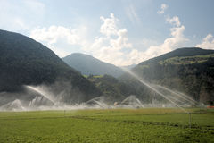 Water sprinklers. Aimed in all directions royalty free stock photography