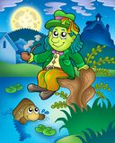 Water sprite with fish. Color illustration Royalty Free Stock Photos