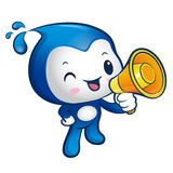 Water sprite Mascot the hand is holding a loudspeaker. Nature Ch Stock Photography