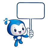 The Water sprite mascot holding a board. Nature Character Design Royalty Free Stock Photo