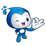 Water sprite Mascot the OK gesture. Home and Family Character De Stock Image