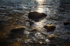 Water stars and stones. Slightly rough water washed the stones and illuminated by the sun with flares Royalty Free Stock Photo