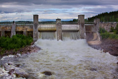 Water start-up through a hydroelectric power station. Dam in Imatra, Finland Royalty Free Stock Photography