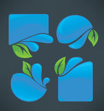 Water stickers and green leaves symbols Stock Images
