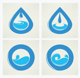 Water stickers, icons and symbols Stock Image