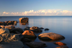 Water&Stones. Mersrags, Latvia, Baltic Sea Coast Stock Photo
