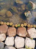 Water and stones. Beautiful view of the water and stones that are joined on the river bank in the Netherlands Stock Photography