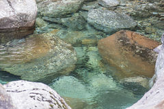 Water and stones. A small pond with rocks, some covered in moss Royalty Free Stock Images