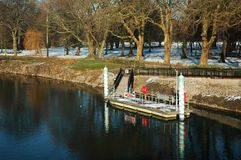 Water stop. On Cardiff river in winter royalty free stock photos