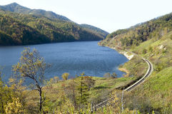 Water storage lake. Water storage basin on the river Tyj, island Sakhalin Royalty Free Stock Image