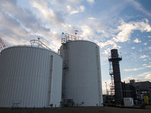 Water storage tanks at power plant Stock Images