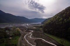Water stream in ananuri stock photo