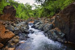 Water stream down in kahung valley south kalimantan royalty free stock photography