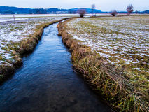Water stream in a field Royalty Free Stock Images