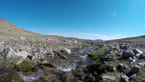 Water stream in mountains stock video footage