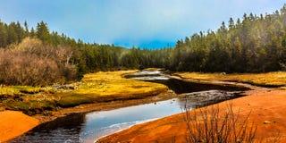 Water stream, Nova Scotia, Canada. Water stream near Bay of Fundy, Nova Scotia, Canada stock photos