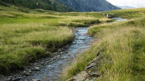 Water stream small river on mountain top stock images